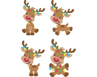 christmas reindeer machine embroidery designs set of 4 fill stitch rudolph reindeer embroidery designs - Christmas Reindeer