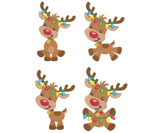 christmas reindeer machine embroidery designs set of 4 fill stitch rudolph reindeer embroidery designs 2 sizes instant download nosa528 from - Christmas Reindeer 2