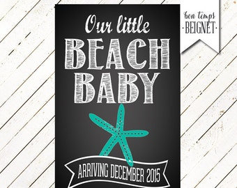 Baby Announcement Sign - Pregnancy Announcement - Beach Baby & Surfboards - PERSONALIZED Printable - Big Brother Big Sister - Baby Makes 3