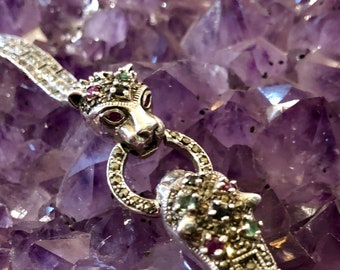 Beautiful Sterling Silver Emerald Ruby Sapphire Marcasite Vintage Panther Bracelet