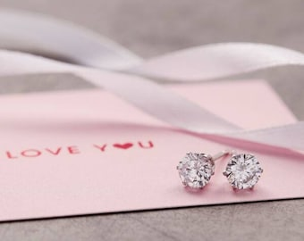 Earrings Studs with Round Cut Cubic Zirconia Diamond Rhinestone, Bridesmaid Gift, Meaningful Christmas Gift,