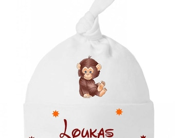 Baby knot Hat little monkey personalized with name
