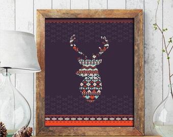 Christmas PRINTABLE ART, Oh Deer Merry Christmas Printable, Winter Decor, Holiday Decor, Christmas Print, Cross Stitch Christmas Print 229