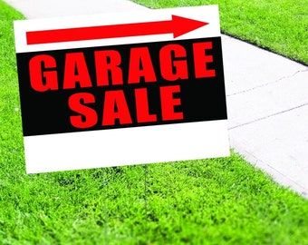 Garage Sale with Arrow Yard Sign