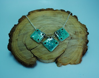 Handcrafted Ceramic Necklace   3 Piece Geometric in Glacier Lake with Real Silver Accents
