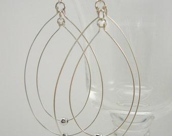 Double Hoop Earrings, Teardrop Silver Fashion Jewelry, Bridesmaids Gift