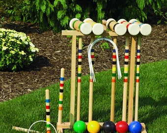 Amish Made Old-Fashioned Wooden Croquet Game