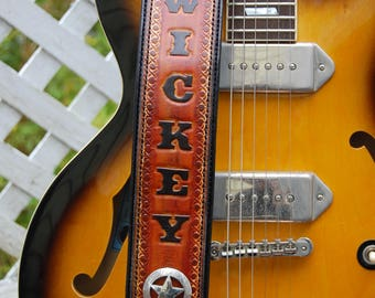 Guitar Strap, Personalized Guitar Strap, Leather Guitar Strap, Custom Guitar Strap, Sunburst Guitar Strap, PATENT PENDING