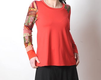 Red patchwork top, Long sleeved supple top with patchwork yokes, Womens clothing, Womens tees, MALAM
