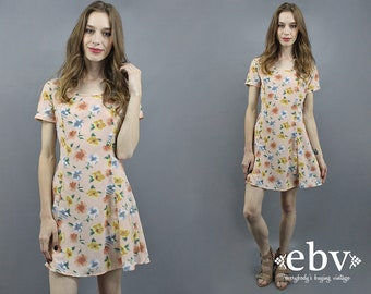 Floral Skater Dress 90s Mini Dress 90s Skater Dress 90s Dress 1990s Dress Summer Dress Spring Dress Festival Dress Boho Dress 90s Party S