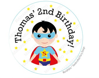 SuperHero stickers, SuperHero Party Personalized Inspired PRINTED round Stickers, tags, Labels or Envelope Seals, Superman A938