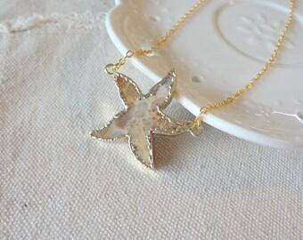2016 Sea Star Nature Jasper Slice Gemstone Statement Necklace 834