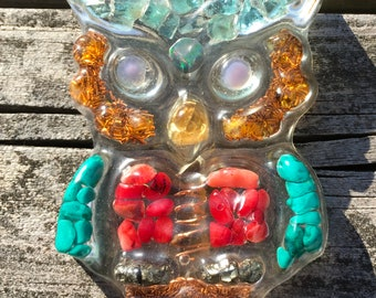 Smoky Opal Owl ~ Owl'gonite orgonite epoxy resin crystals pendant