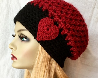 Valentines Red Heart Womens Hat, Crochet Beret, or Custom Color, Chunky, Warm, Teens, Birthday Gifts for Her JE467BTF8