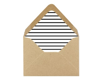 Printable Thin Black and White Striped Envelope Liner/Patterned Backer 8.5 x 11 - INSTANT DOWNLOAD