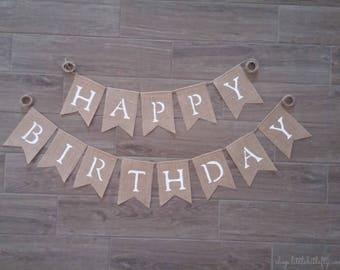 Happy Birthday Banner, Happy Birthday Burlap Banner, Happy Birthday Bunting Garland, Burlap Banner Bunting Garland, Birthday Party Decor
