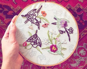 Floral Embroidery / Wall Hanging / Fiber Art