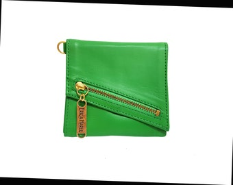 Womens Green Leather Wallet, Compact Womens Wallet, Green Leather Wallet, Gift Box, Minimalist Wallet, Gold plated toothpick