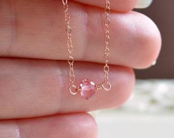Rose Gold Choker, Pink Topaz Necklace, Genuine Gemstone Jewelry, Simple, AAA Semiprecious Stone, Minimalist Style, Free Shipping