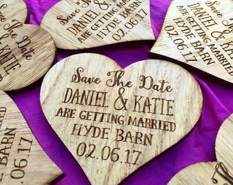 Save The Date Heart - Rustic Wedding Announcement - Save The Date Magnet - Wooden Save The Date - Wedding Announcement - 06STD