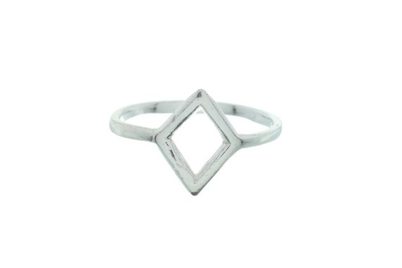 Sterling Silver Hidden Temple Ring, Dimond Shaped sterling Silver Sing, Geometric Ring, Boho Ring