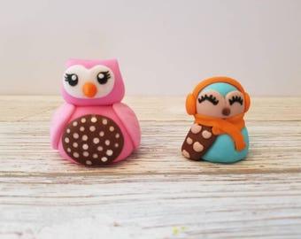 Owl fondant cake topper, owl decoration, owl cake