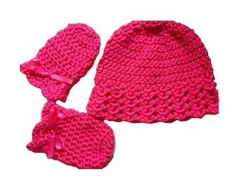 crochet baby hat, scratch mittens, baby shower gift set for baby girl, bright pink