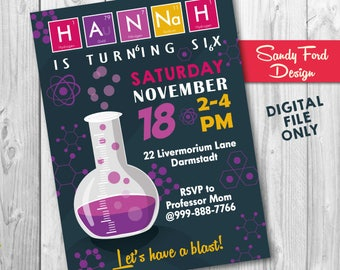 Girls Science Party Invitation | Science Invitation | Science Birthday Invitation | Science Experiment Invitation DIGITAL FILE
