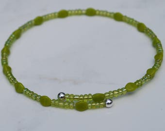 Lime and avocado green beaded stack bracelet