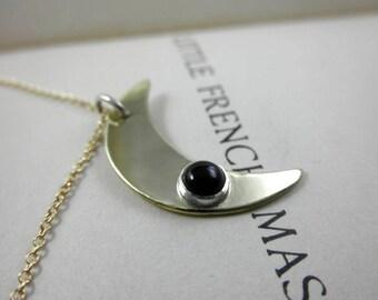 Crescent Onyx Pendant, Brass Crescent Moon Onyx Pendant, Onyx Pendant, July Birthstone, Black Onyx Necklace