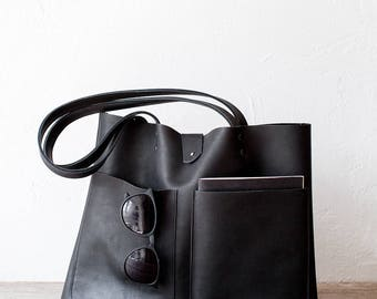 Medium Black Mexican Leather Tote bag No. LPB-7013