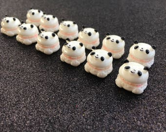 6pc. Panda Macaroon, resin flatback, So Kawaii!