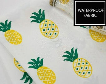 WATERPROOF Fabric - Yellow, Pineapple Pattern, 150cm Width, by Yard