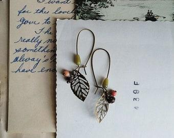 Beaded Leaf Earrings, Filigree Brass Leaf and Vintage Bead Earrings, Long Boho Dangle Earrings, Pink and Green Bead Earrings For Women