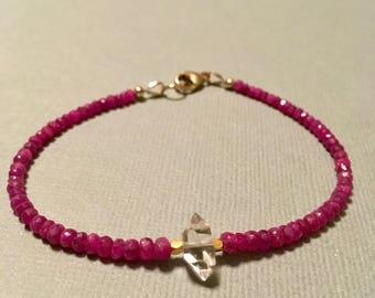 Ruby bracelet/ Ruby and herkimer diamond bracelet, January birthstone bracelet, stacking bracelet