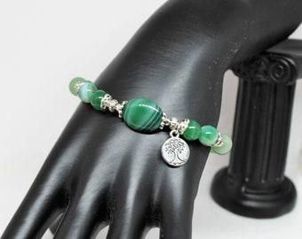 Green agate bracelet, beaded bracelet, green bracelet, gift for her, agate bracelet, gift for mom, summer collection