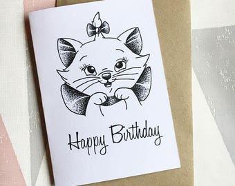 Marie Birthday Card, Aristocats Card, Marie Happy Birthday Greeting Card