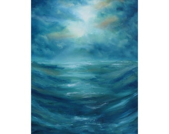 """Original Painting, Abstract Landscape, Abstract Art, Canvas Art, Wall Art, Wall Decor, Abstract Seascape, Ocean Painting, """"Valley Of Water"""""""