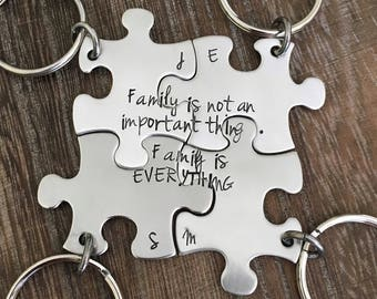 Hand stamped friendship or family keychains, puzzle keychain, friendship puzzle keychain, family