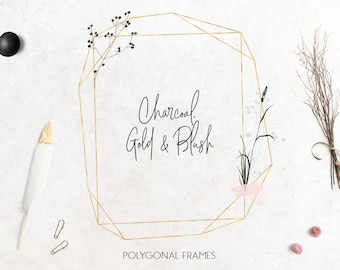 Gold polygonal frames clip art, gold foil, floral frames, abstract, fancy flowers clip art, wedding, design, invitation, download