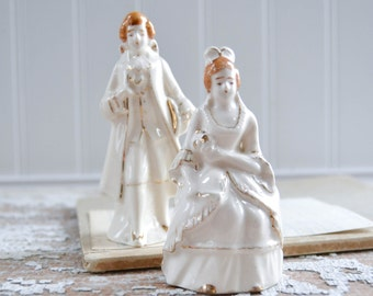 Vintage White Salt Pepper Victorian Man Woman Dress Figurine Ceramic Porcelain Japan