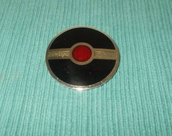 Vintage 1960's or 1970's Signed de Passille Sylvestre Enamel Disc Brooch-Black-Red-Silver Stripe-FREE SHIPPING