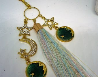 "Long tassel necklace ""starry night"""