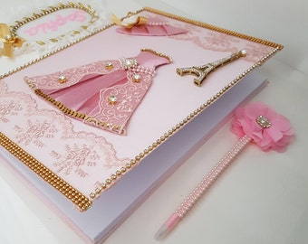 Pink and Gold Baby Shower, Baby Memory Book, Baby Girl Gift, Maternity Pregnancy Journal, Baby Shower Guest Book, Baptism Gift, Paris Themed