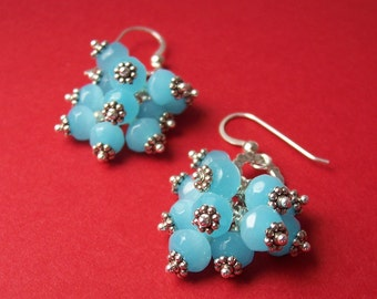 Earrings - Aqua Glass and Silver Cluster Dangle