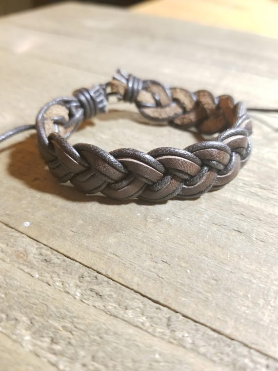 Brown Dark Brown Braided Leather Adjustable Bracelet Native American Style Fashion Cuff  (B1)