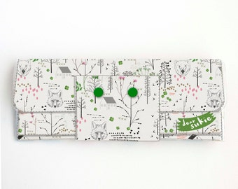 Vinyl Long Wallet - Forest / woodland, fox, bear, tree, vegan large wallet, clutch, zipper, card case, vinyl wallet, snap wallet, handmade