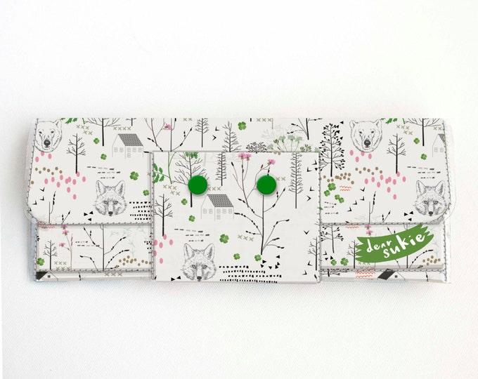 Vinyl Long Wallet - Forest / woodland, fox, bear, tree, vegan large wallet, clutch, zipper, card case, vinyl wallet, snap wallet, handmade