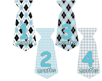 12 Pre-cut Monthly Baby Milestone Waterproof Glossy Stickers - Neck Tie Shape - Design T006-04