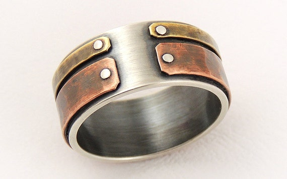 Unique mens wedding band mens engagement ringsilver and junglespirit Choice Image